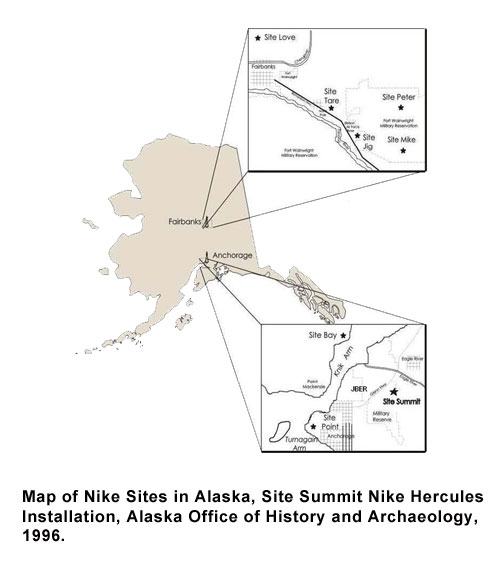 Map of Nike Sites in Alaska
